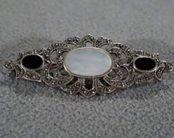 Vintage Pin Brooch Sterling Silver Multi Round Oval Mother Of Pearl Black Onyx Marcasite Fancy Scrolled Victorian Style #1025    **RL