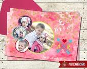 Valentine Photo Card | Watercolor | Print file | Digital | Valentines Card | Valentine Card | Class | Be Mine | Calligraphy | Valentine