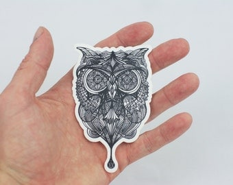 Owl Sticker, Hand Drawn Owl Design Laptop Sticker, Trippy Sticker, Tribal Owl Art, Art Sticker, Bumper Sticker, Owl Laptop Sticker