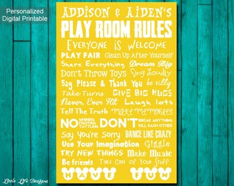 Playroom Rules Sign. Playroom Decor. Playroom Wall Art. Playroom Sign. Kids Playroom Art. Childrens Wall Art. Kids Room Decor. Family Rules.