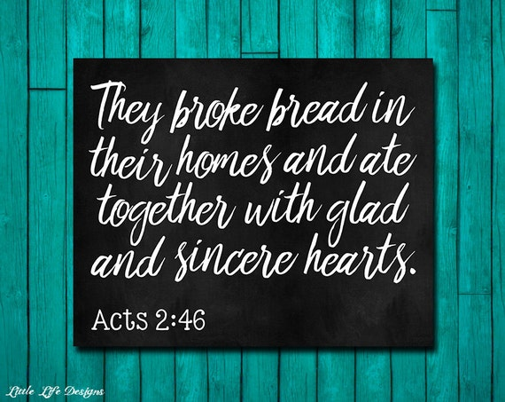 Acts 2 46 They Broke Bread Sign Dining Room Wall Art