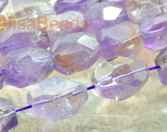 Natural Amethyst, nugget, beads, 12-14mmx19-21mm length,15 inches