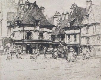 Quimper Signed Etching By Dorothy Woollard 1886-1986