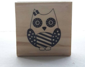 Girl Owl Wood Mounted Rubber Stamp Craft Supplies