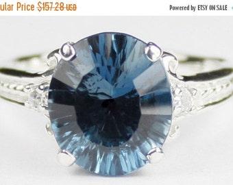 Summer Sale, 30% Off, SR136, 4.5 cts Quantum Cut London Blue Topaz, 925 Sterling Silver Ring