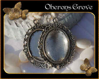 10 filigree settings silver with 25x18mm cabochons