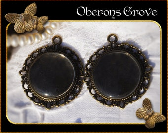 10  bronze settings with 20mm cabochons