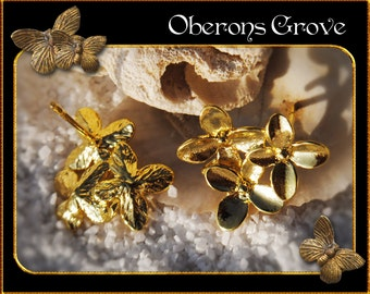 6 small leaf earstuds gold