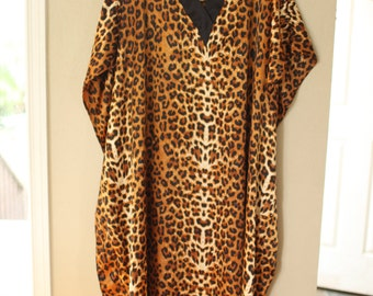 vintage leopard animal print tunic caftan dress