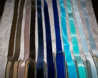 """many colors of Vintage Velvet satin back Rayon 7/8"""" wide Yardage  High Quality Old Store Stock"""