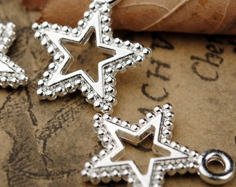 50 pcs of antique silver hollow out five-pointed star charm pendants 14x17mm