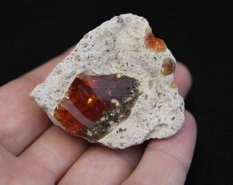 Fire Opal in Rhyolite from Mexico #36