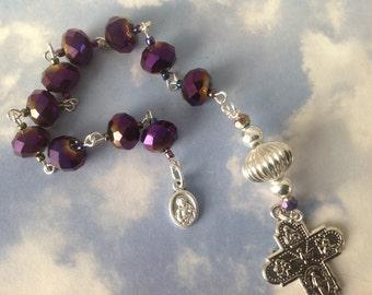 Violet Single Decade Catholic Pocket Rosary Chaplet Tenner