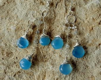 Blue Chalcedony silver earrings, blue dangle earrings, long blue earrings 16061
