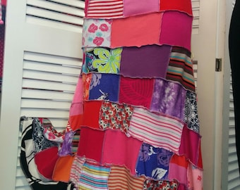 Hot colours Upcycled Hippy skirt/dress