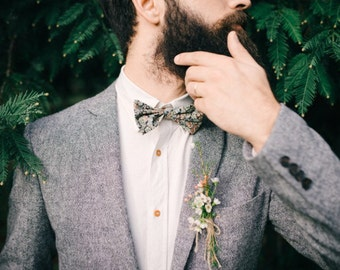 mens floral bow tie, Liberty print, floral bow tie, olive green bow tie, wedding