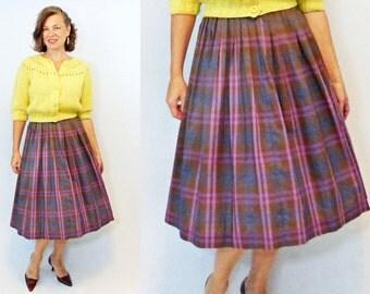 "1950s Skirt / 50s Skirt / Plaid Skirt / 1950s Plaid Skirt / 50s Plaid Skirt / Pleated Skirt / Secretary Skirt / Linen Skirt / W 27"""