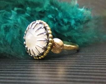 Art Deco style Memorial Hair or Pet Ash Ring Mixed Metal