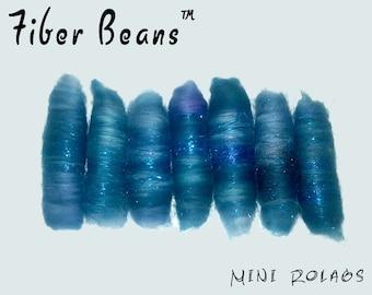 Mini Rolags - Fiber Beans - Indigo- spinning felting- 18u Superwash Merino Wool Angelina Sparkle Firestar - Indigo blue cobalt sapphire teal