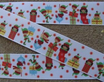 """3 yards Christmas Kids Gift Box ribbon  Christmas Stockings Socks 7/8""""Holiday Grosgrain Ribbon New Year ribbon"""