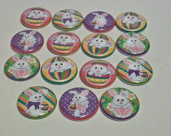 Cute Set of 15 White Easter Bunny Pastel Colors 1 Inch Flat Back Embellishments Buttons Flair