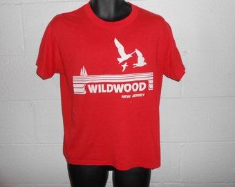 Vintage 70s 80s Wildwood New Jersey Shore NJ Beach T-Shirt Fits S/M