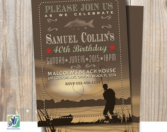 Fishing Birthday Party Invitation / Printable Announcement
