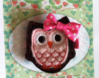 Black and Pink Owl Hair Clip