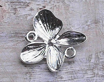 Dogwood blossom silver connector charm