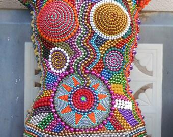 "OOAK ""Mardi Gras Queen"" Beaded Acrylic Female Form Mannequin Outsider Wall Art"