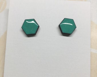 Hex Studs in Sparkly Mint 12mm