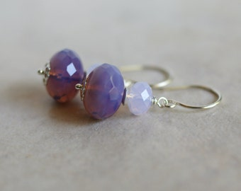 Czech glass earrings, Swarovski earrings, purple glass earrings, violet glass earrings, Czech glass jewelry, sterling silver ear wires