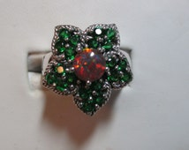 Fire opal and emerald flower ring is sterling silver wonderful design