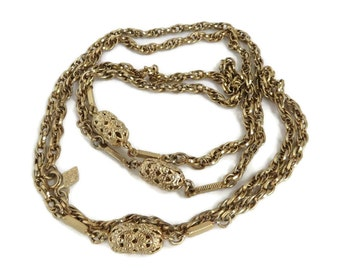 Sarah Coventry Necklace, Vintage Chain Necklace, Long Beaded Gold Tone Necklace, 42 Inch Chain