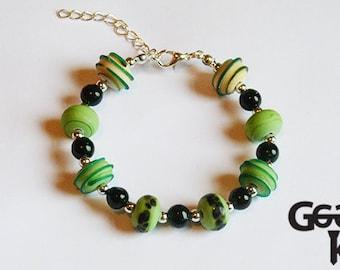 SALE Feeling Green Bracelet, lampwork bracelet, bead bracelet