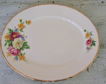 English Serving Platter Floral with 22Kt Gold Trim Holiday Table Royal Swan Staffordshire