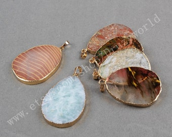 1Pcs Handmade Gold Plated Edge Teardrop Multi-Kind Stones Slice Pendant Bead Natural Jasper Pendant Gemstone Jewelry Charm Craft G0448
