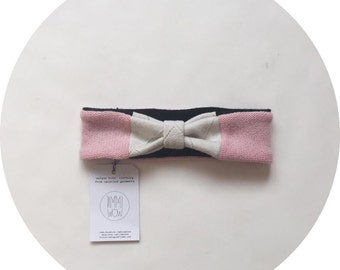 Upcycled cashmere  Headband // size EU 74 / 80 (cm) // 6-12 months // baby // girl // bow  // pink / white/ black