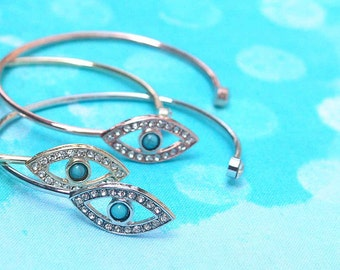 evil eye bangle, rhinestone bangle, evil eye jewelry, evil eye bracelet, evil eye protection, protection jewelry,
