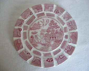 Broken China Mosaic Hot Pad Red Pink Transferware Oriental Motif