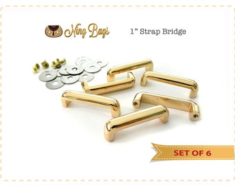 """Set of 6 // 1"""" (25mm) Strap Bridge, Strap Bar, Strap Connector, Strap Hardware for Bags, Purses, Totes in Beautiful Light Gold Finish"""