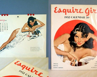 Vintage ESQUIRE Calendar Pin Up LUSCIOUS LOVELIES 1952 Glossy --Complete w/ Gloss Image Sleeve