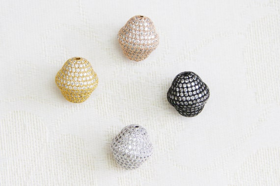 CZ Micro Pave 16x18mm  Double Cone  Beads