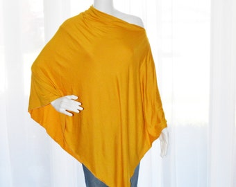 Mustard Yellow Poncho / Nursing Cover / Nursing Shawl / Breastfeeding Cover / One shoulder Tunic / Boho Poncho top / New Mom Gift
