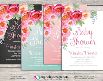 Baby girl shower invitation, flower roses baby shower, watercolor, chalkboard, printable files