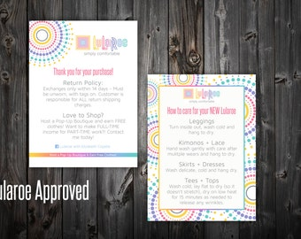 """Lularoe Thank You / Care Card - Dotted 4x5.5"""""""