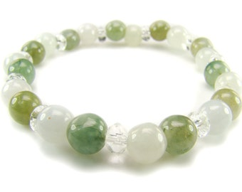BB0684 Green Jade Clear Quartz Natural Crystal Gemstone Stretch Bracelet