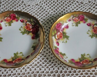 Royal Chelsea Berry or Jam Serving Bowls.  Two Tiny Porcelain Bowls. Bone China Golden Rose Pattern Bowls. Antique Bowl Made in England