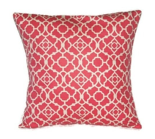 Throw Pillow Fabric Calculator : Pillow Cover In Deep Pink And White, Decorative Pillow Cover, Geometric Lattice Design, Blossom ...