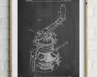 Sailboat Winch Patent Poster, Sailboat Art, Sailing Decor, Sailor Gift, Beach House Decor, Vacation House, PP1027